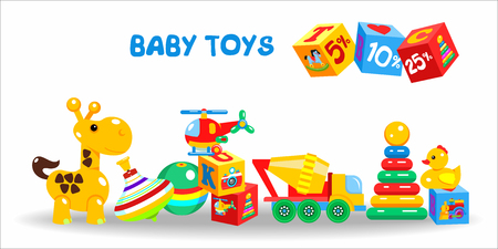 baby playing toy: Toys, large set. Vector illustration. Including cubes, giraffe, mixer, ball, pyramid, duck, helicopter, ball. Discounts, sales.