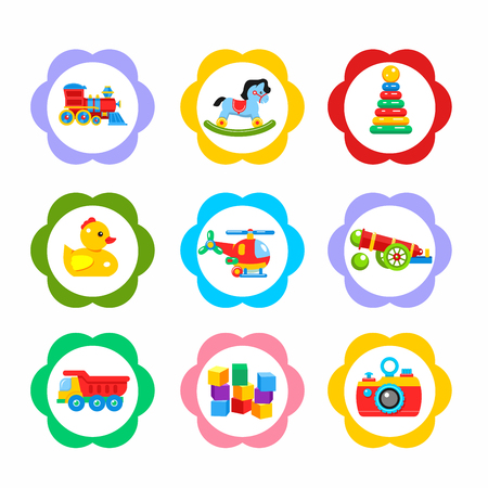 A Vector icons, stickers. The set of elements of children's toys. Including a locomotive, rocking horse, pyramid, gun, duck, dump truck, helicopter, bricks.