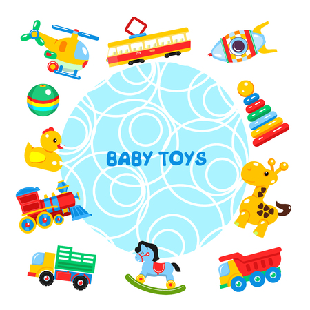 A Vector illustration of toys arranged in a circle. Including helicopter, ball, duck, tram, locomotive, truck, dump truck, rocking horse, giraffe, pyramid, rocket. Illustration