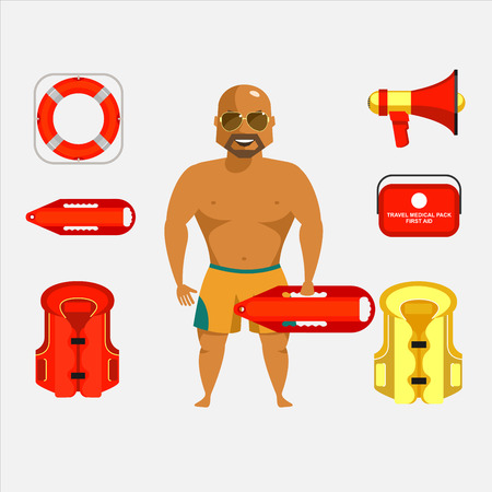 Lifeguard on the beach. Tanned strong man in glasses with a rescue buoy. Equipment lifeguard, vector set.