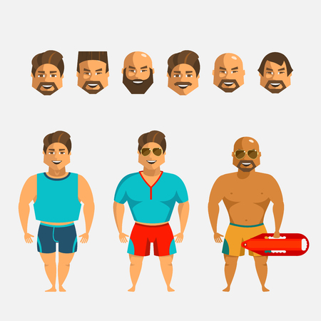 Man character creation set. Icons with different types of faces and hair style, emotions, male person.