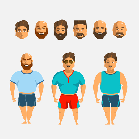 Man character creation set. Icons with different types of faces, hair mustaches and beards style, emotions, male person. Ilustração