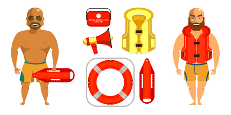 Men lifeguards on the beach. The set of items of rescue equipment.