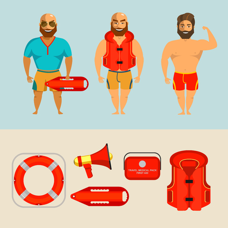 Men lifeguards on the beach. Vector illustration of a set of items of rescue equipment.