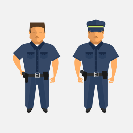 Police. Men in the form of the police. Vector illustration. Isolated on a white background.