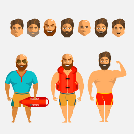Rescuers on the beach. Man character creation set. Icons with different types of faces, hair mustaches and beards style, emotions, male person. Illustration