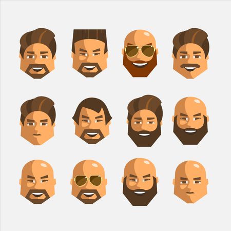 Set of hairstyles different men. Isolated on a white background.