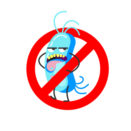 Bad bacteria. Vector illustration. Sign is prohibited. Illustration