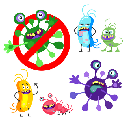 Bad viruses and bacteria. Isolated on white background. Vector cartoon characters.