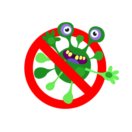 Aanmelden is verboden. Schadelijke bacteriën en virussen. Vector illustratie. Geïsoleerd op een witte achtergrond.