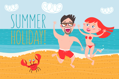Young people, a guy and a girl having fun on the beach. Vector illustration. Summer vacation. Çizim