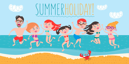 Young people, girls and guys having fun on the beach. People are on vacation, relax, have fun, sunbathe. Vector illustration.