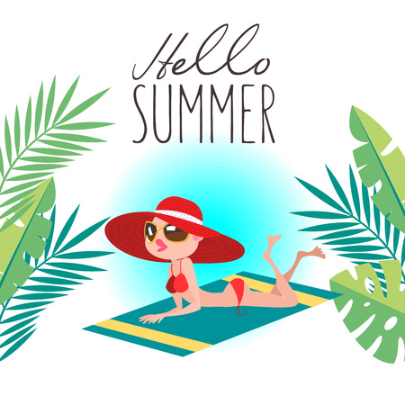 Hello, summer! Beautiful girl in a red hat, sunbathing on the beach. Vector illustration in flat style. Vettoriali
