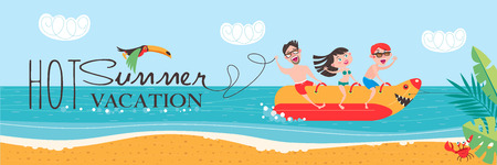 Hot summer vacation! Beach activities, banana boating, swimming in the sea. Vector illustration in flat style. Illustration