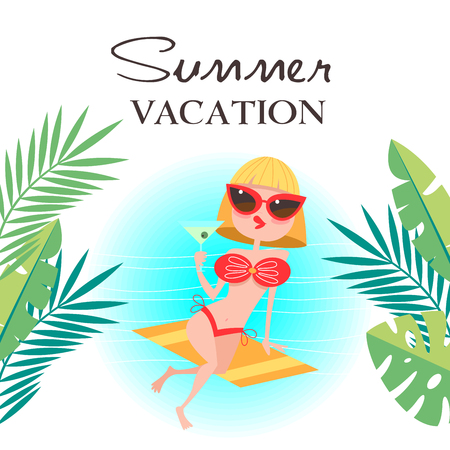 Summer vacation. Vector illustration. Girl on the beach resting and drinking a cocktail. Ilustrace