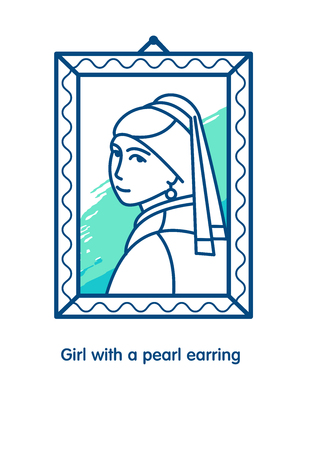 hankie: Girl with a pearl earring. Icon vector.