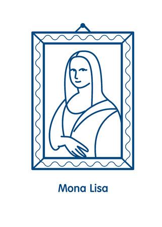 Painting The Mona Lisa.The linear vector emblem icon. The famous painting of Leonardo da Vinci.