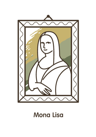The famous painting of Leonardo da Vinci. Vector illustration. Linear icon.