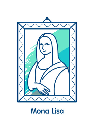 Vector icon, the Mona Lisa, a work of art. Isolated linear illustration on a white background.