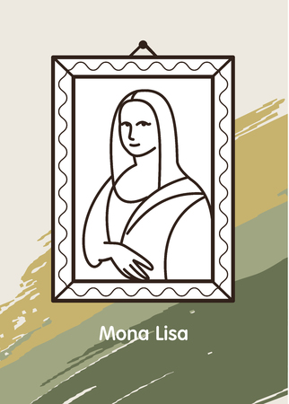 Vector illustration of painting of the great Leonardo. Mona Lisa. The background color palette of the picture.