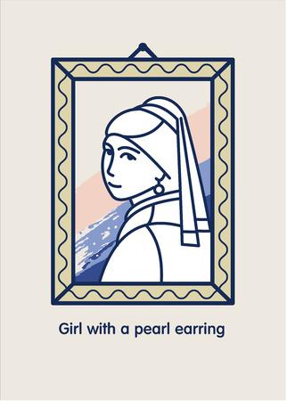 Ragazza con un orecchino di perle. Icona vettoriale Il famoso dipinto di Vermeer.