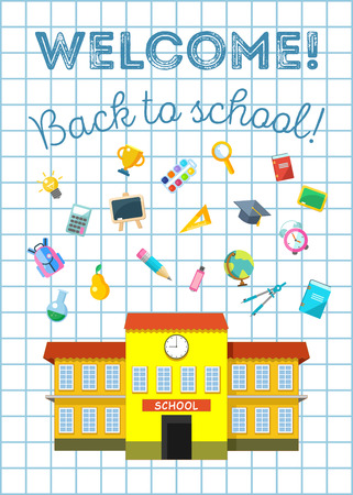 Back to school illustration. Flat vector icons.
