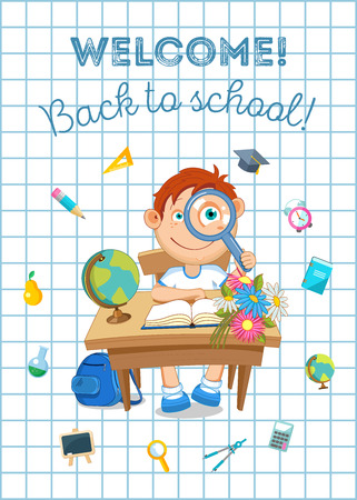 Back to school illustration. Pupil and school supplies. Vector flat.