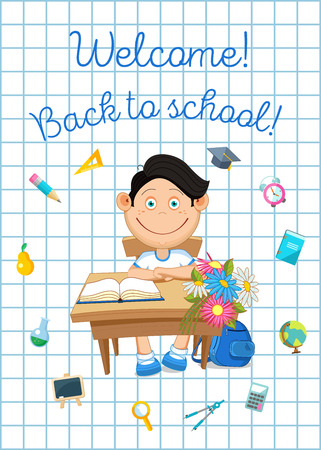 Back to school illustration. Pupil and school supplies.