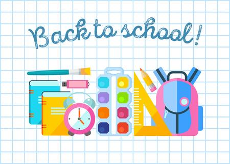 Back to school vector illustration in flat design style. School supplies.