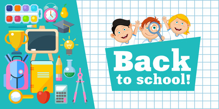 Back to school! Vector illustration. Cheerful schoolchildren and a set of school supplies.