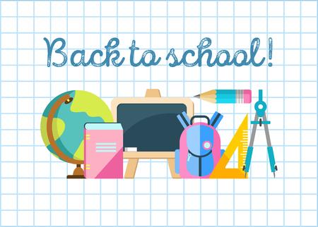 Back to school! Vector illustration. School supplies. 向量圖像