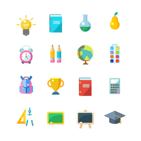 Set of vector icons. School supplies. Isolated on white background.