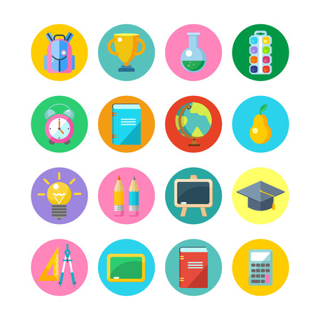 Set round vector icons. School supplies. Illustration