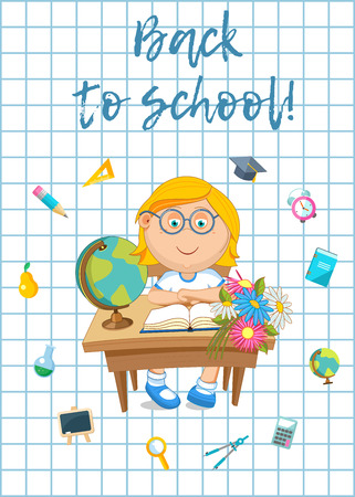 Vector illustration. Back to school. Pupil and school supplies.