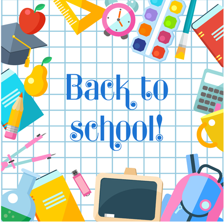 Vector illustration. Back to school. The inscription on the notebook sheet. A set of school supplies.
