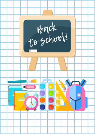 Vector illustration. Back to school. The school Board and school supplies.