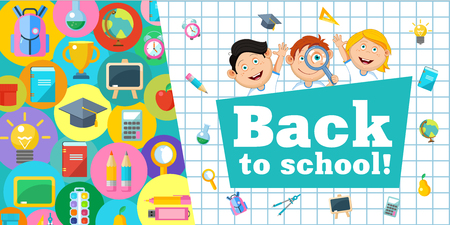 Welcome back to school! Vector illustration. Cheerful schoolchildren and a set of school supplies. Round icons.