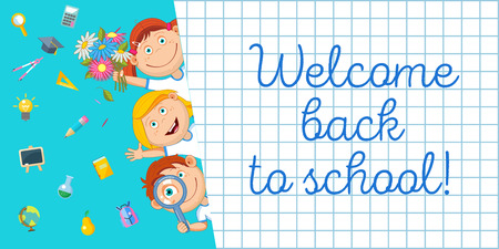 Welcome back to school! Vector illustration. Cheerful schoolchildren and a set of school supplies. Illustration