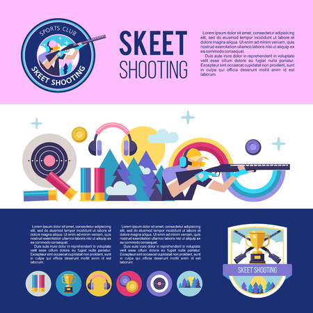 Set of vector logos of sports club. Shooting Skeet. Banners with place for text. Set of vector design elements.
