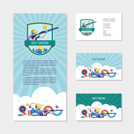 Shooting Skeet. Set of design elements, business cards, flyer. Vector logo of the club.