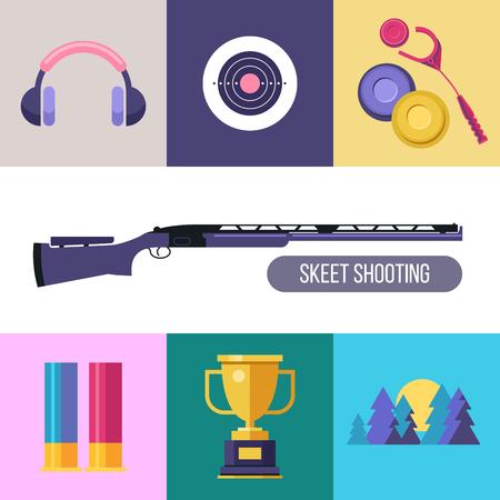 Skeet di tiro. Set di elementi di design vettoriali colorati. Icone quadrate. Archivio Fotografico - 82827884
