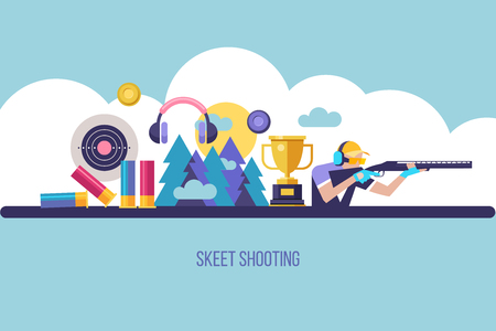 Shooting Skeet. The elements of design. Set of vector elements. Vector illustration.
