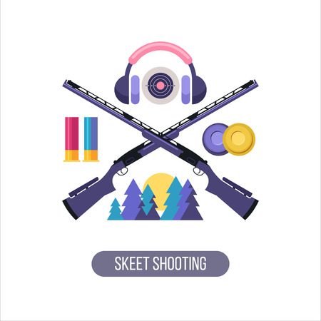 trap: Shooting Skeet. The emblem of the sports club. Set of vector design elements.