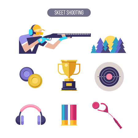 Shooting Skeet. Vector icons.