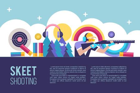 Shooting Skeet. Ilustración vectorial con lugar para el texto.