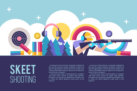 Shooting Skeet. Vector illustration with place for text.
