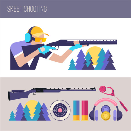 Shooting Skeet.  Set of design elements. Vector illustration Banco de Imagens - 82861954