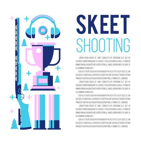 Shooting Skeet. Set of vector design elements with place for text.