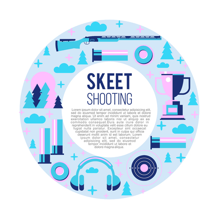 Shooting Skeet. Set of vector elements located in a circle. With place for text.