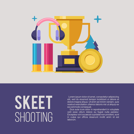 Shooting Skeet. Set of vector elements with place for text. Vector emblem. Vettoriali